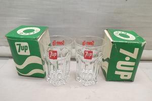 ●昭和レトロ SEVEN-UP 7-UP セブンアップ グラス コップ タンブラー 2客 ノベルティ 時代物 非売品●