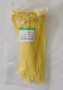 カラー結束バンド ケーブルタイ 黄色 200mm 100本