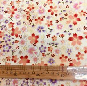 生地 ハギレ 布 和柄 小桜 花柄 50cm 金糸プリント 白色