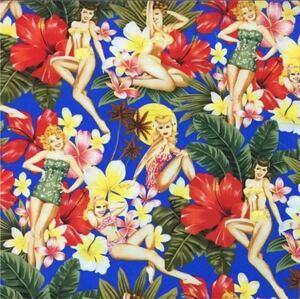 生地 はぎれ 布 50cm アイランドガールズ柄 花と美女