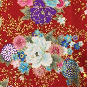 生地 ハギレ 布 和柄 菊 牡丹 花柄 50cm 金糸プリント レッド