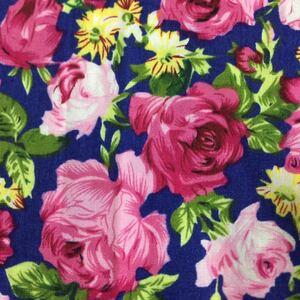 生地 ハギミニバラ 薔薇 花柄 50cm ビンテージローズ ネイビー