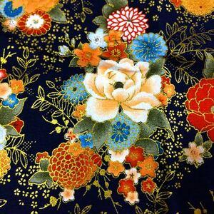 生地 ハギレ 布 和柄 菊 牡丹 花柄 50cm 金糸プリント