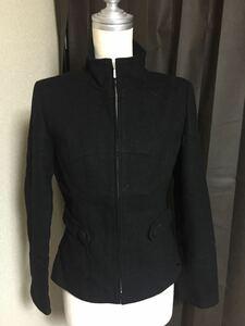 上品でカッコいい♪a.v.v MK ミッシェルクランパリス ジップアップスタンドカラージャケット黒色36ショートコート