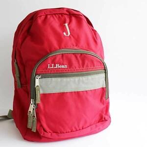 ★L.L.Bean J刺繍 ブック パック ナイロン デイパック 赤 キッズ★リュックサック バックパック アウトドア キャンプ ジュニア