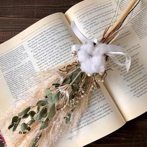 星月猫★「ホワイトコットンフラワーとパンパスグラスの一輪挿し用スワッグ」ドライフラワースワッグ 花束