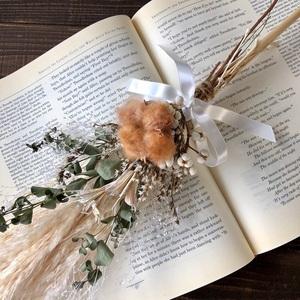 星月猫★「ブラウンコットンフラワーとパンパスグラスの一輪挿し用スワッグ」ドライフラワースワッグ 花束