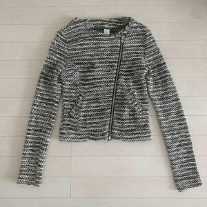 H&M ノーカラー ライダース ニットツイードジャケット