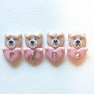 ハート持ちTed☆3Dネイルパーツ/イニシャル変更/まとめ買い可