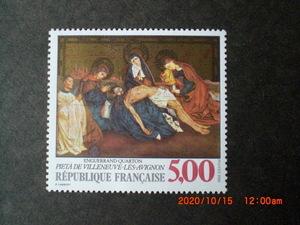 フランス美術切手 アングラン・カルトン画「アビニヨンのピエタ」 1988年 未使用 フランス・仏国 VF/NH