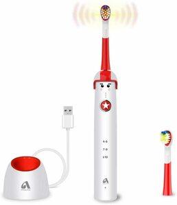 電動歯ブラシ子供用 音波歯ブラシ Proalpha USB急速充電 IPX7防水 2本替えブラシ 3モード ソニック タイマー付き カートゥンデザイン