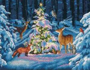 森の仲間とのクリスマス クリスマスツリー 雪 冬 クロスステッチ キット 14CT 刺繍