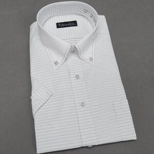 ■Lucent Avenue■半袖ドレスシャツ■クールビズ■クレリック/ボタンダウン■白×灰 ドビー格子■形態安定■LAV76-76 ■LL■
