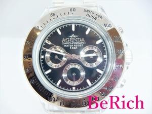 アジェンダ AGENDA メンズ 腕時計 AG-8516 黒 ブラック 文字盤 SS クリア シルバー 樹脂 デイト クロノグラフ クォーツ 【中古】ht3050