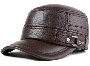 SALE!本革 ベースボールキャップ メンズ リアルレザー レディース BB 野球帽 帽子 牛皮ハット 通勤 秋冬 カラーC「サイズ 色 選択可」