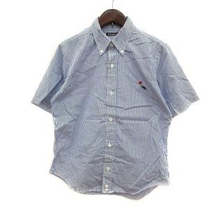 ボヘミアンズ BOHEMIANS ボタンダウンシャツ ストライプ 半袖 1 紺 ネイビー 白 ホワイト /MN メンズ