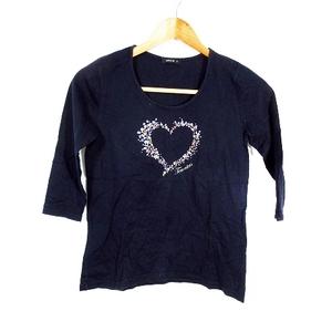 コムサイズム COMME CA ISM Tシャツ カットソー 七分袖 プリント M 紺 ネイビー /MO レディース