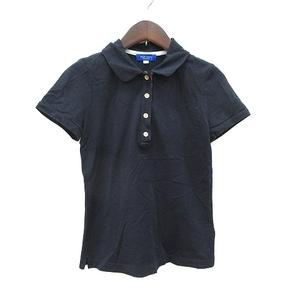 ブルーレーベルクレストブリッジ BLUE LABEL CRESTBRIDGE ポロシャツ 半袖 鹿の子 36 紺 ネイビー /CT レディース