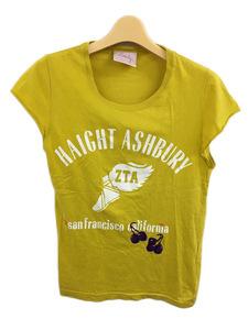 ステディ Steady Tシャツ プルオーバー Uネック プリント 刺繍 半袖 黄 白 イエロー ホワイト レディース