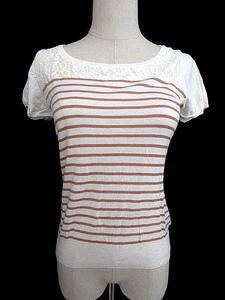プロポーション ボディドレッシング PROPORTION BODY DRESSING Tシャツ カットソー 半袖 デコルテ ボーダー レース 3 白 ホワイト /AAM