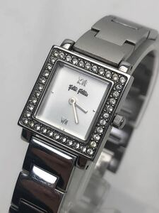 T129 ★ Folli Follie フォリフォリ 腕時計 クォーツ ラインストーン レディース 稼働品