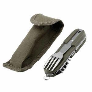 屋外の多機能折りたたみ食器キャンプナイフとフォークスプーンセット
