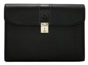新品同様 バーバリー ドキュメントケース A4 ブリーフケース ビジネスバッグ 書類かばん メンズ ブラック 型押し レザー チェック BURBERRY