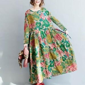 花柄 長袖 総柄マキシワンピース ふんわり ゆったり 花柄ワンピース グリーン ピンク イエロー フラワー