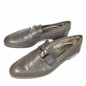 【エルメス】本物 HERMES 靴 28cm グレー色系 H金具 モカシン ローファー スリッポン ビジネスシューズ 本革 レザー メンズ イタリア製 44