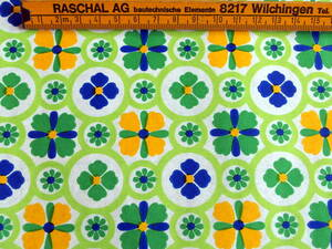 ヴィンテージ&レトロ スイス製 ワックスペーパー 包装紙 (さわやかな緑系の幾何学模様)