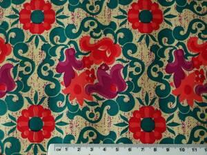 残りわずか!ヴィンテージ&レトロ スイス製 ワックスペーパー 包装紙 (ピンク&紫系の花 周りはグリーンの葉っぱ)