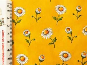 ヴィンテージ&レトロ スイス製 ワックスペーパー 包装紙 (黄色い背景に白い野菊、マーガレット)