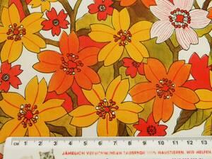 スイス製 ヴィンテージ&レトロ ワックスペーパー,包装紙 (秋を感じるオレンジ系の花柄)