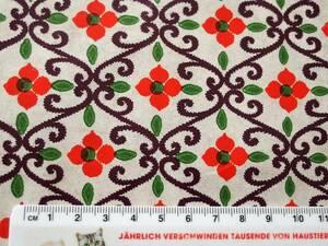 スイス製 ヴィンテージ&レトロ ワックスペーパー 包装紙 (ツタと赤い花)