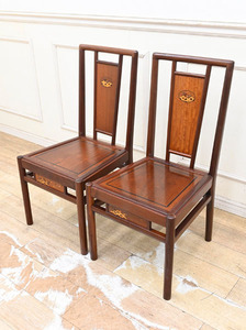 JZ12 ◆28万円 本花梨 唐木総無垢 象嵌細工 ダイニングチェア 食卓椅子 2脚セット