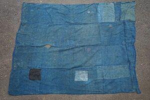 1720B5◆ボロ◆襤褸◆蚊帳地◆藍染木綿◆古布◆継ぎ当て◆継ぎ接ぎ4幅◆BORO◆リメイク素材◆