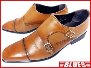 即決★日本製 Lanvoraxime slrligiana★26cm レザーダブルモンクストラップシューズ メンズ 茶 本革 ベルト 本皮 ビジネスシューズ 革靴
