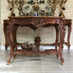 フランスアンティーク テーブル アンティークテーブル 19世紀 コンソールテーブル ルイ15世様式 ロココ様式 アンティーク家具