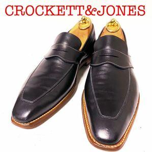 447.CROCKETT&JONES クロケットアンドジョーンズ ペニーローファー コインローファー 別注品 ビジネスシューズ ダークネイビー 7D
