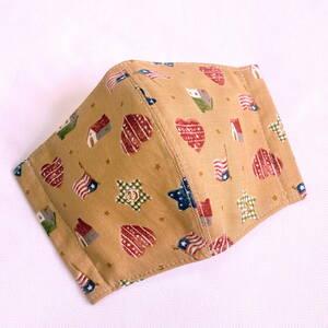 【ハンドメイド】 小さいサイズ ハート柄 国旗柄 立体マスクカバー フィルターポケット ガーゼ 子供用 マスクゴム付き 星柄 ブラウン