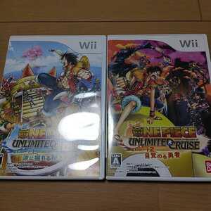 Wii ワンピース ONE PIECE UNLIMITED CRUISE エピソード 1 2 波に揺れる秘宝 目覚める勇者 2本 セット 中古 動作確認済
