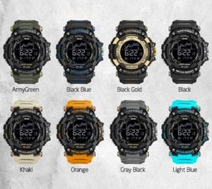 ★送料無料★ライトブルー メンズ腕時計ミリタリー防水スポーツ腕時計 デジタルストップウォッチ機能付き