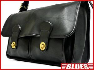 即決★米国製 COACH★オールレザーショルダーバッグ オールドコーチ メンズ 黒 ブラック 本革 かばん 本皮 カバン 鞄 トラベル レディース