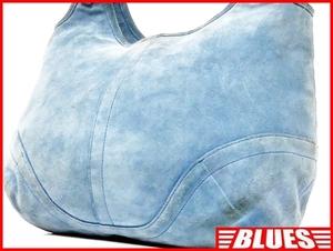 即決★COACH★オールレザーハンドバッグ オールドコーチ メンズ 水色 スエード 本革 トートバッグ 本皮 カバン 鞄 レディース 肩掛けカバン