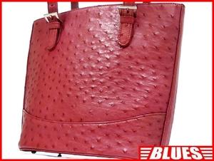 即決★N.B.★レザーハンドバッグ オーストリッチ メンズ 赤 ピンク 本革 トートバッグ 本皮 かばん 鞄 レディース 手提げバッグ