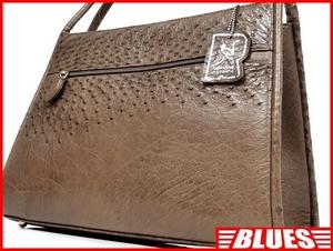 即決★GENUINE OSTRICH★レザーハンドバッグ オーストリッチ メンズ 茶 本革 トートバッグ 本皮 かばん 鞄 レディース 手提げバッグ