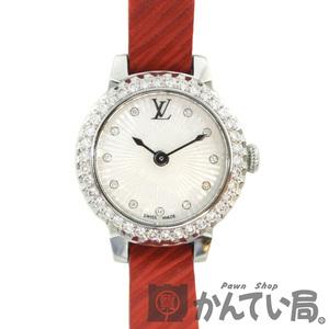 LOUIS VUITTON【ルイ・ヴィトン】Q1M04 タンブール ベゼルダイヤ レディース腕時計 クオーツ アナログ ステンレス 11Pダイヤ エピレザー