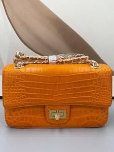 ワニ革 マット仕上げ ショルダーバッグ カバン 鞄 クロコダイル 腹部革 レディース 女性鞄 肩掛け 斜め掛け チェーンショルダー オレンジ