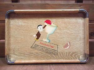 ビンテージ50's●カクテルペイントウッドトレイ●201011n5-bxs 1950s酒プリント木製トレーお盆ロカビリーUSA雑貨