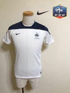 NIKE FRANCE ナイキ サッカー フランス代表 プラクティス シャツ ウェア トップス 練習着 ジュニアサイズL 半袖 白 ネイビー 赤